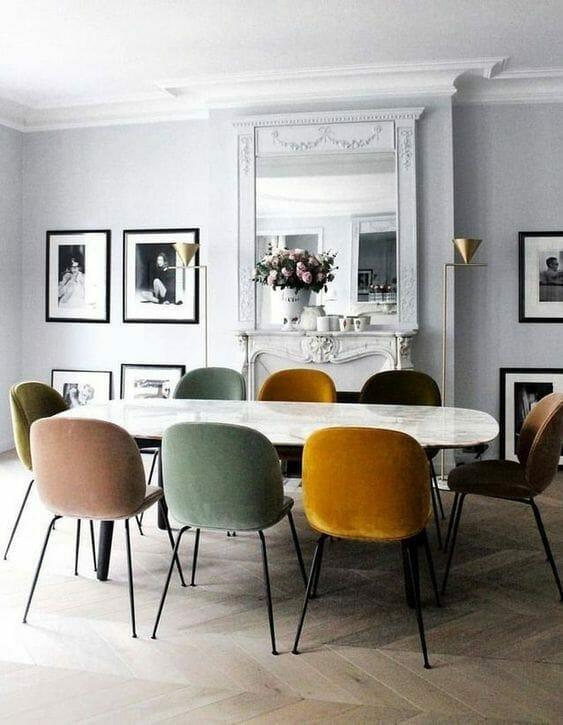 welurowe krzesła do jadalni