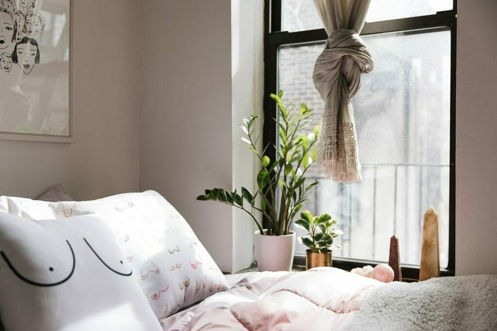 poduszki piersi rośliny na parapecie sypialnia millenialsa