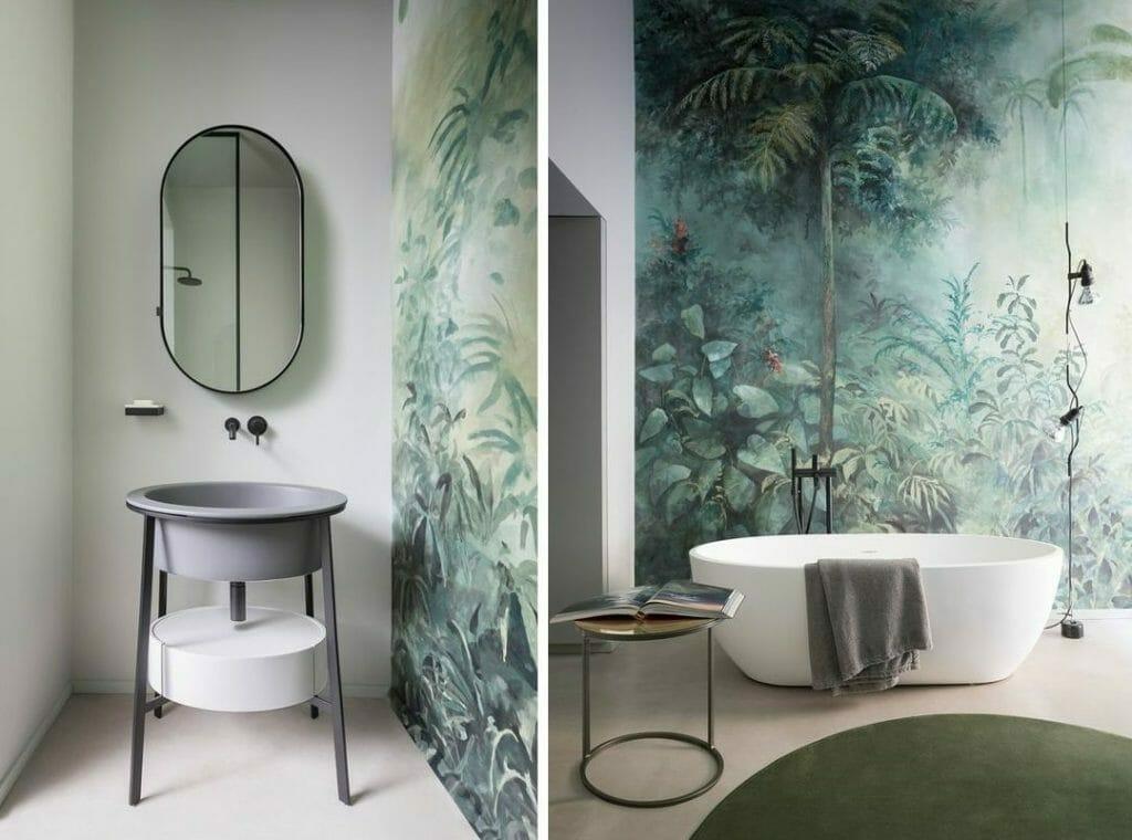łazienka z tropikalną tapetą wanna wolnostojąca łazienka z tropikalnym motywem