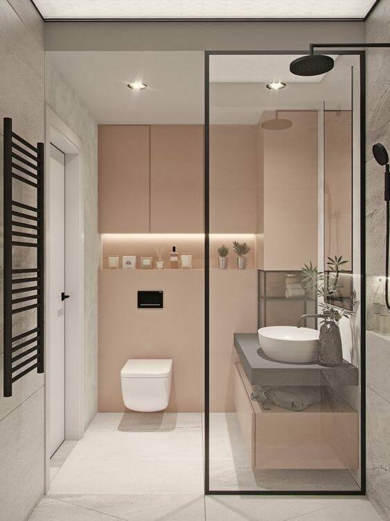 pastelowo różowa łazienka w stylu minimalistycznym
