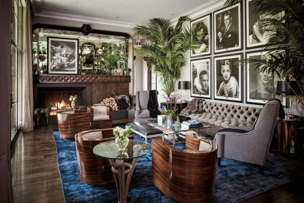 salon w stylu art deco palmy pikowana sofa fotele