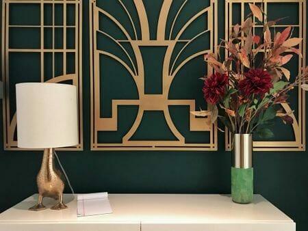 tapeta art deco butelkowa zieleń złote ornamenty
