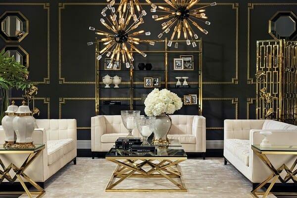 luksusowy czarny salon ze złotymi dodatkami i beżowymi kanapami styl art deco