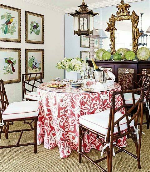 styl chinoiserie w jadalni orientalne tekstylia i obrazy