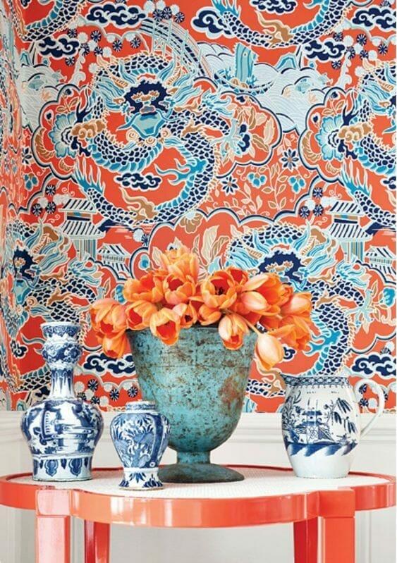 styl chinoiserie tapeta i porcelana