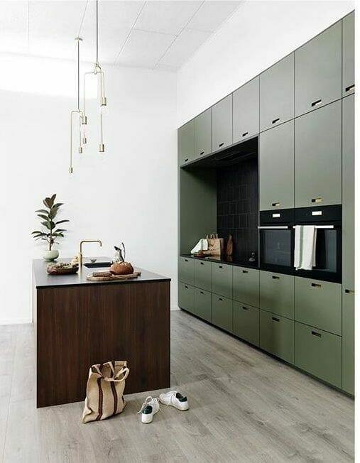 zgniłozielona kuchnia minimalizm