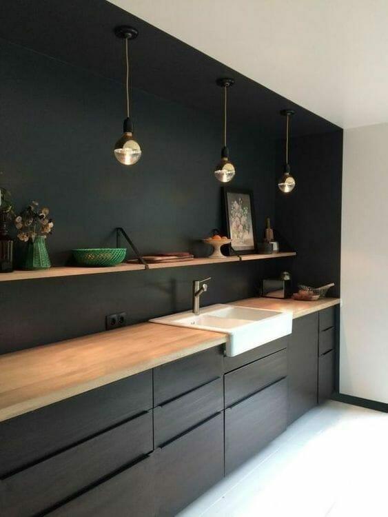 czarna kuchnia w stylu minimalistycznym