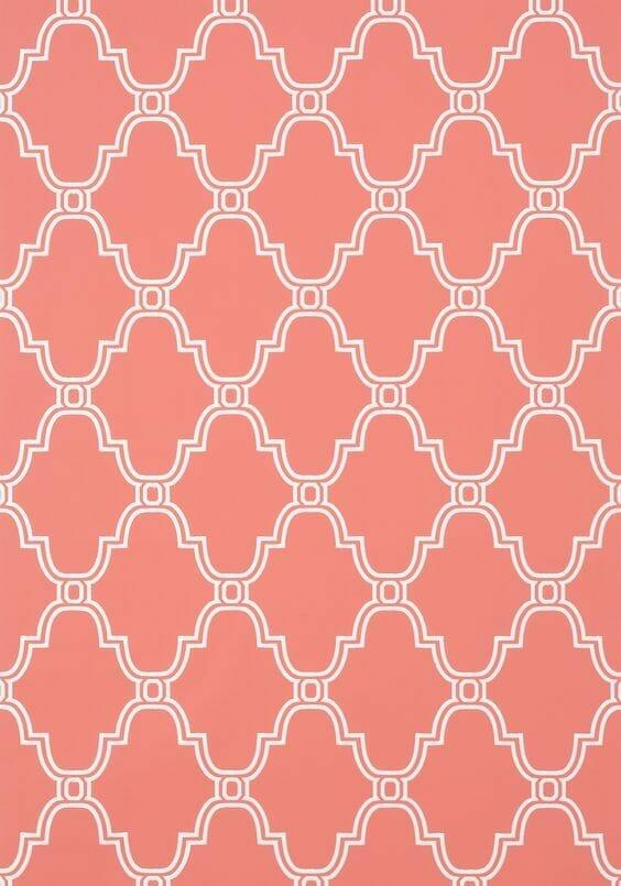 koralowe tapety z białym wzorem