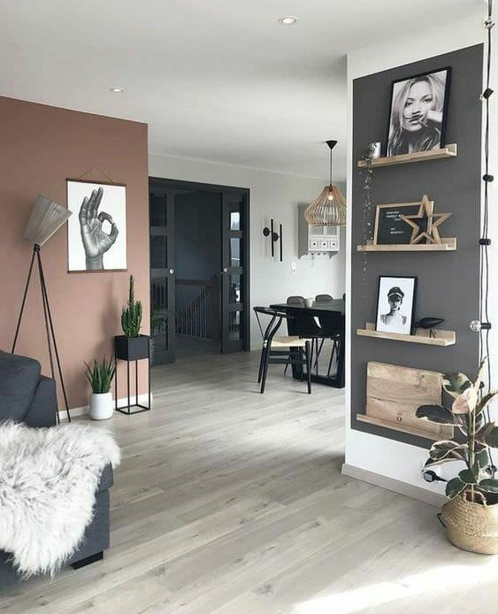 salon styl skandynawski szaro-różowy