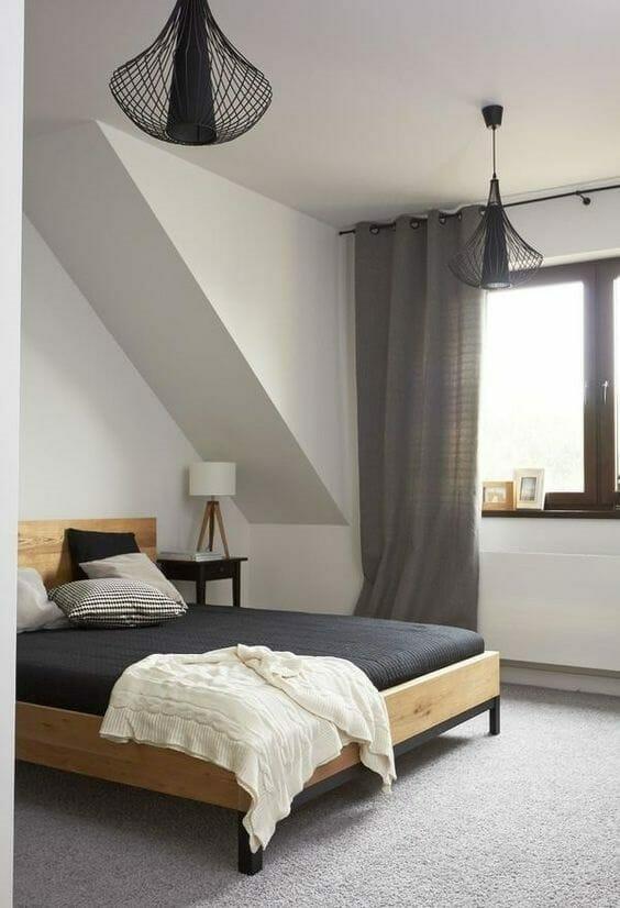 minimalistyczna sypialnia w kolorze beżu i szarości