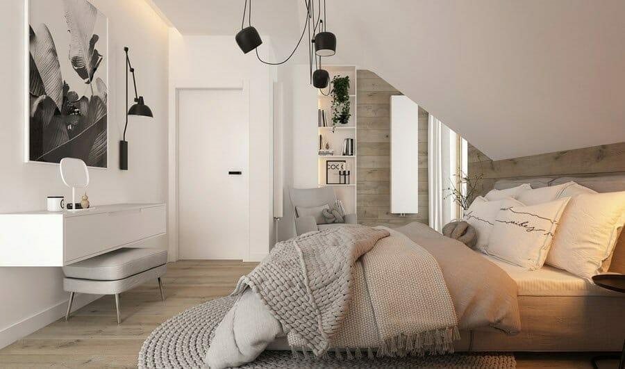 sypialnia w stylu new nordic