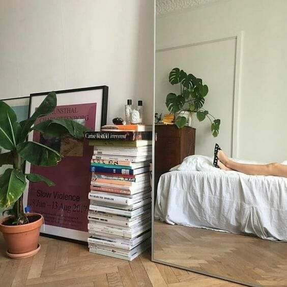 sypialnia z książkami i drewnianym parkietem z kwiatem w glinianej doniczce domowa biblioteczka