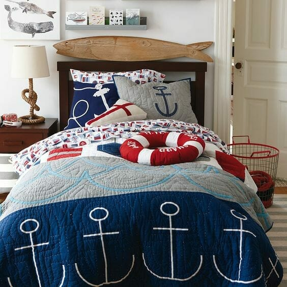 pokój dla chłopca w stylu marynarskim