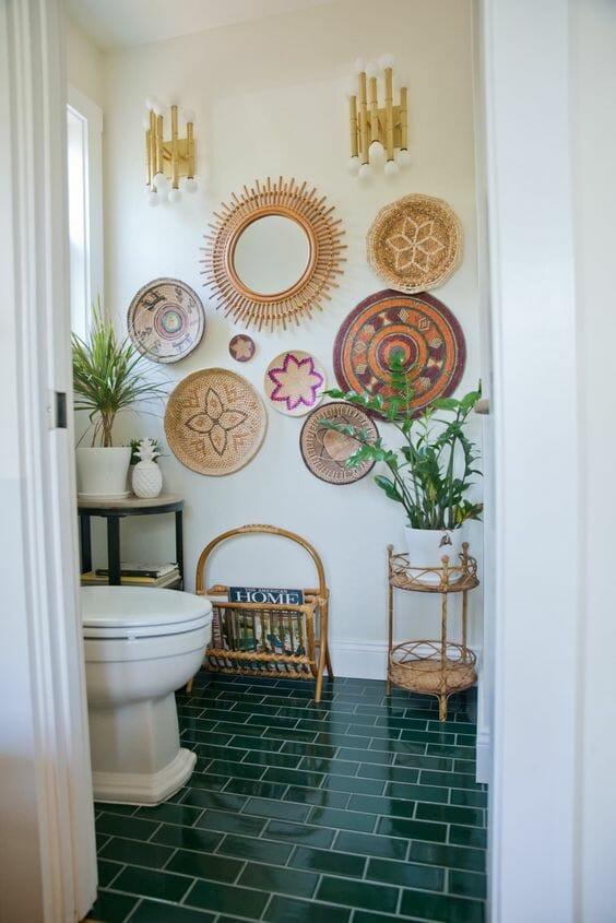 ozdoby naścienne boho łazienka płytki ceramiczne