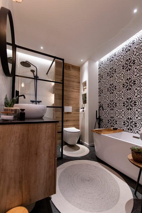 łazienka nowoczesna jak urządzić projekt kafelki z wzorem