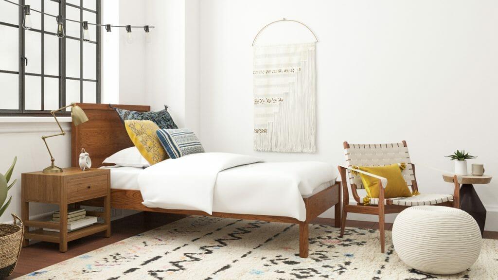 aranżacje białej sypialni w stylu boho