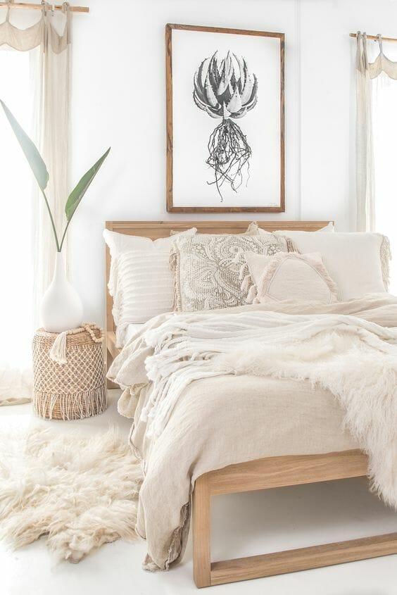 beżowa jasna sypialnia