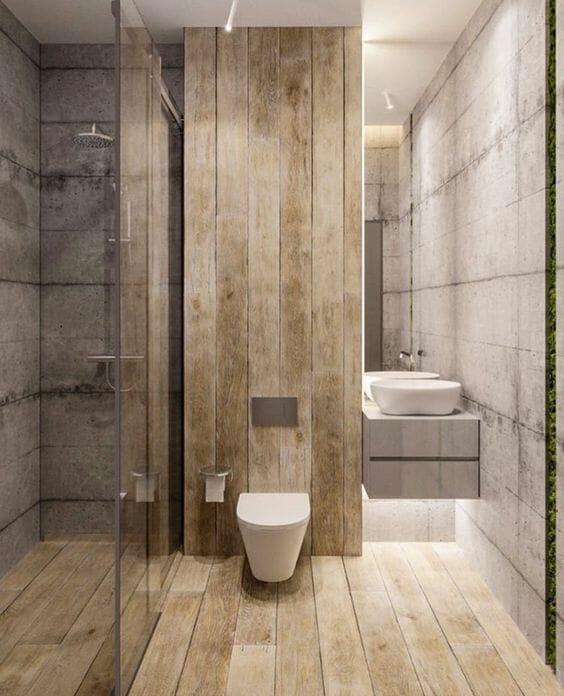 łazienka drewniana toaleta