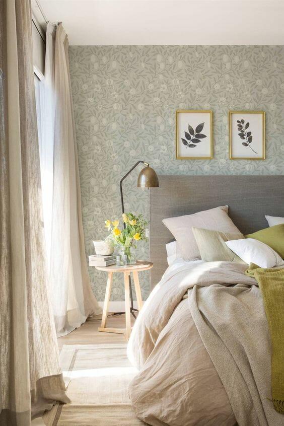 aranżacje sypialni tapeta zielona