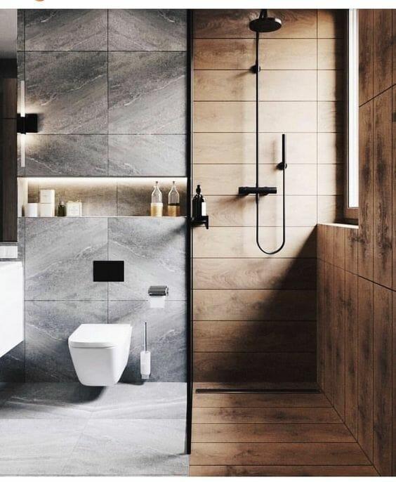 łazienka w kolorach ziemii - drewno i kamień na ścianach