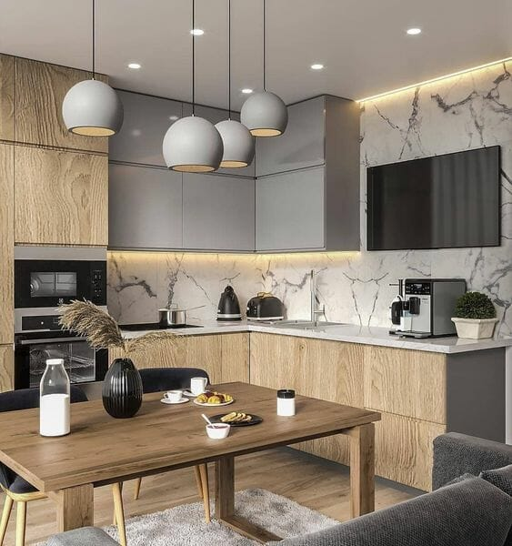panele podłogowe w kuchni marmur szarość