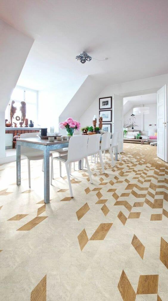 panele podłogowe w kuchni i jadalni