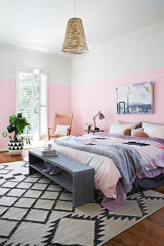 jasna, różowa sypialnia