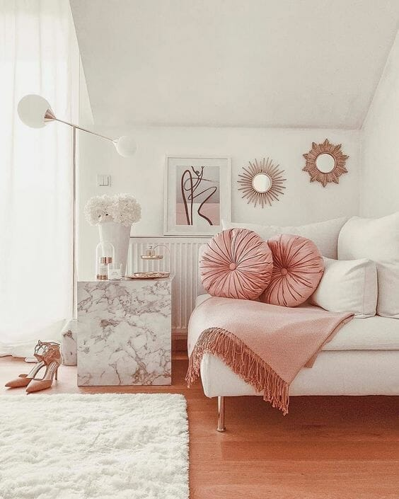 scandi chic różowy pokój minimalizm