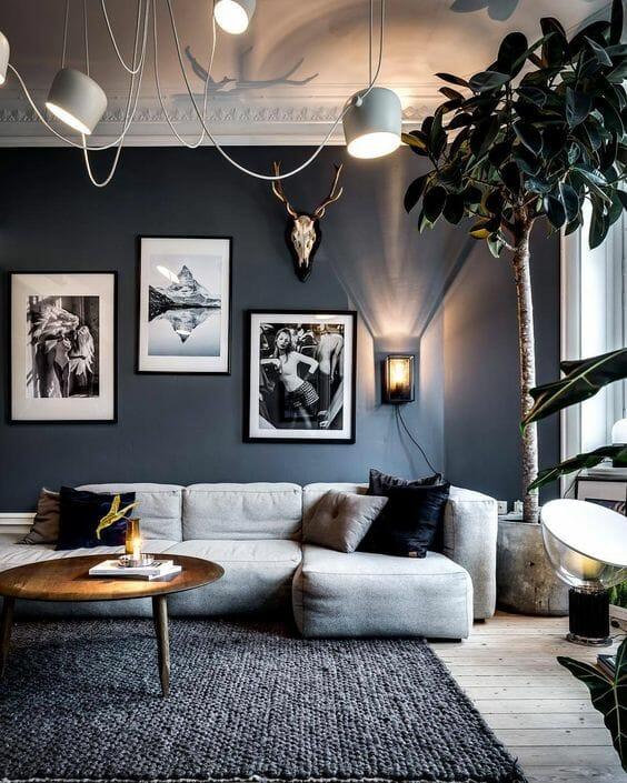styl skandynawski salon zdjęcia w dużych ramach