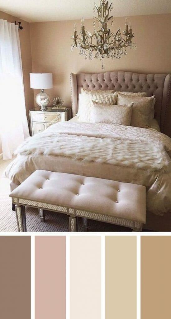 aranżacje sypialni glamour vintage beż