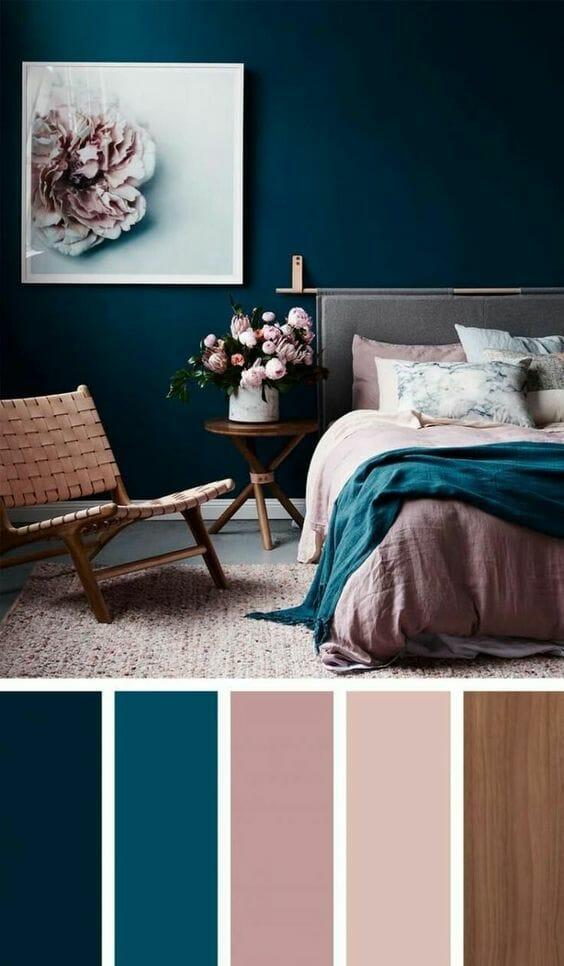 aranżacje sypialni paleta kolorów