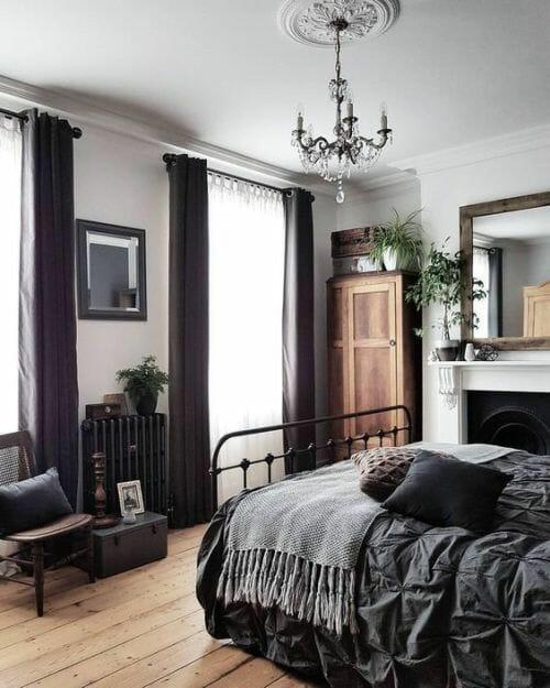 nowoczesna czarna sypialnia