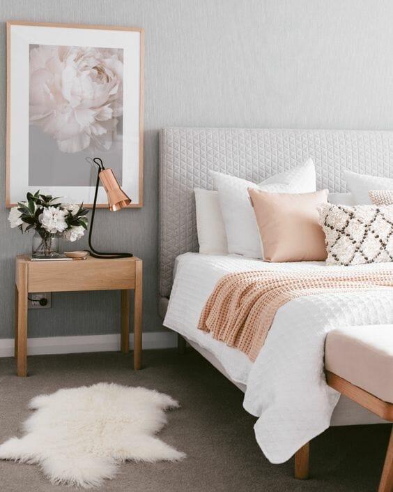 aranżacje sypialni szaro biała