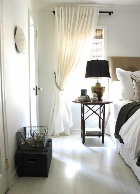 zasłony do sypialni w stylu hampton beżowe