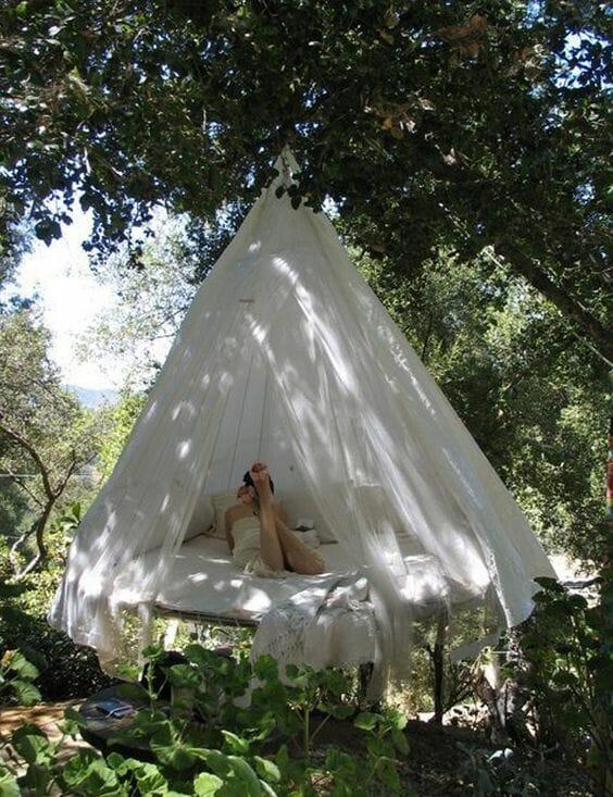 hamak z moskitierą