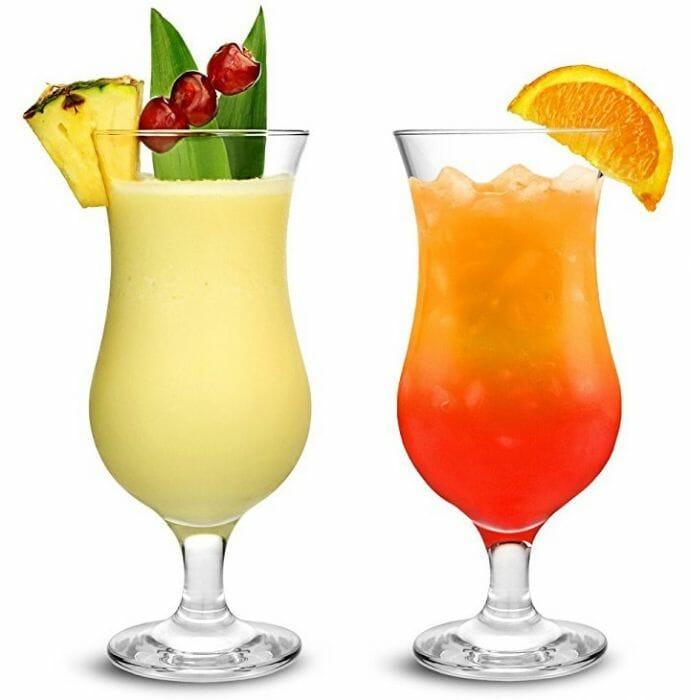 szklanka hurricane do drinków i pinacolady kolorowe drinki