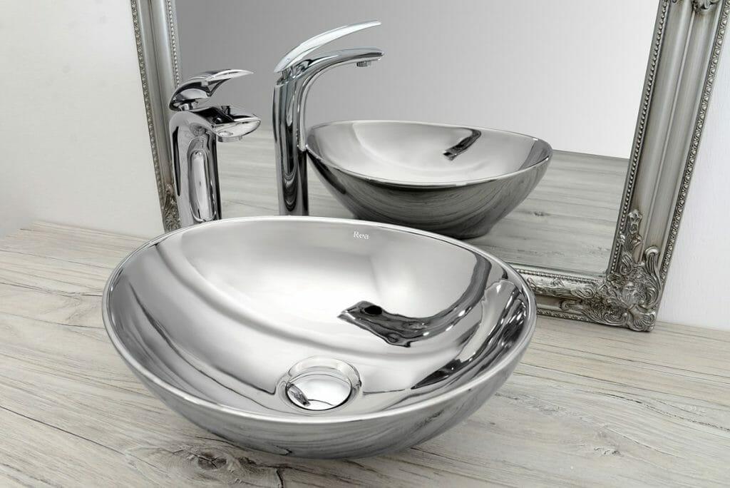 srebrna umywalka rea