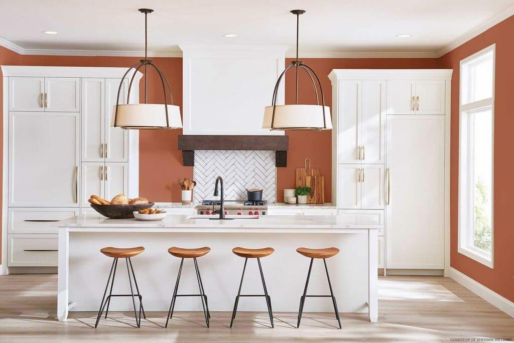 Modne kolory ścian do kuchni, kolor gliniany