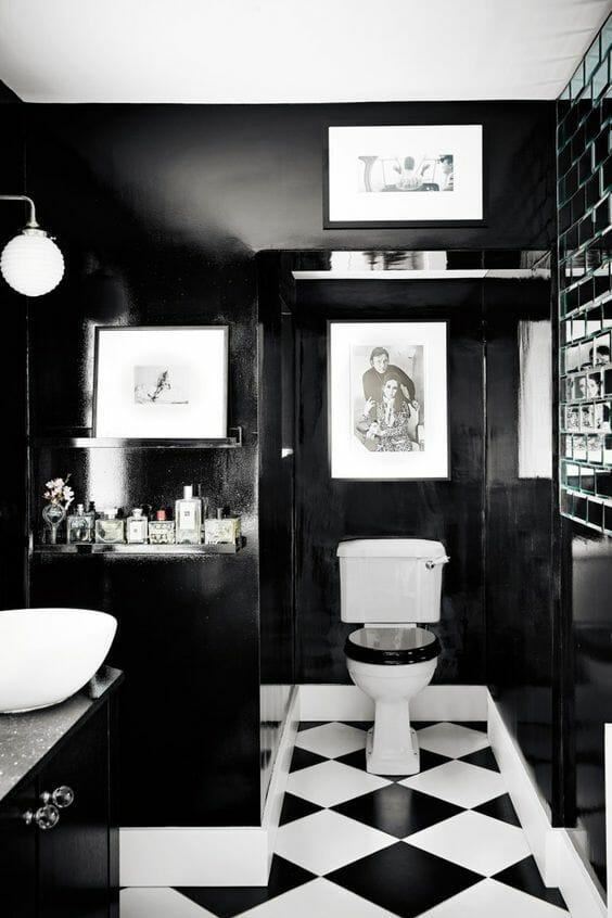 czarno-biale kafle łazienkowe
