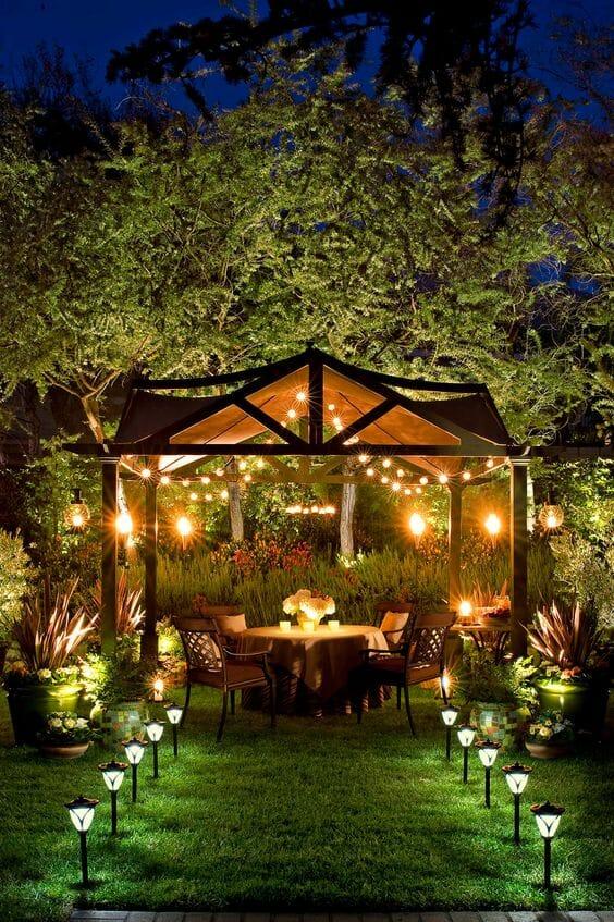 jak oswietlic altanke, altanki ogrodowe
