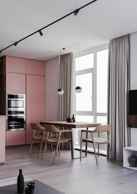 modne kolory ścian do kuchni - różowe ściany