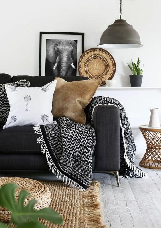 styl boho salon dywan z juty