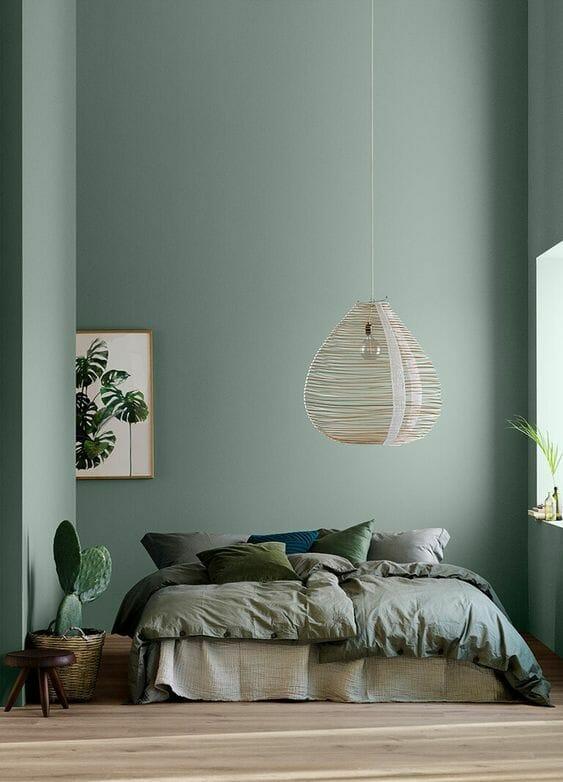 Modne kolory ścian do sypialni - zielone ściany