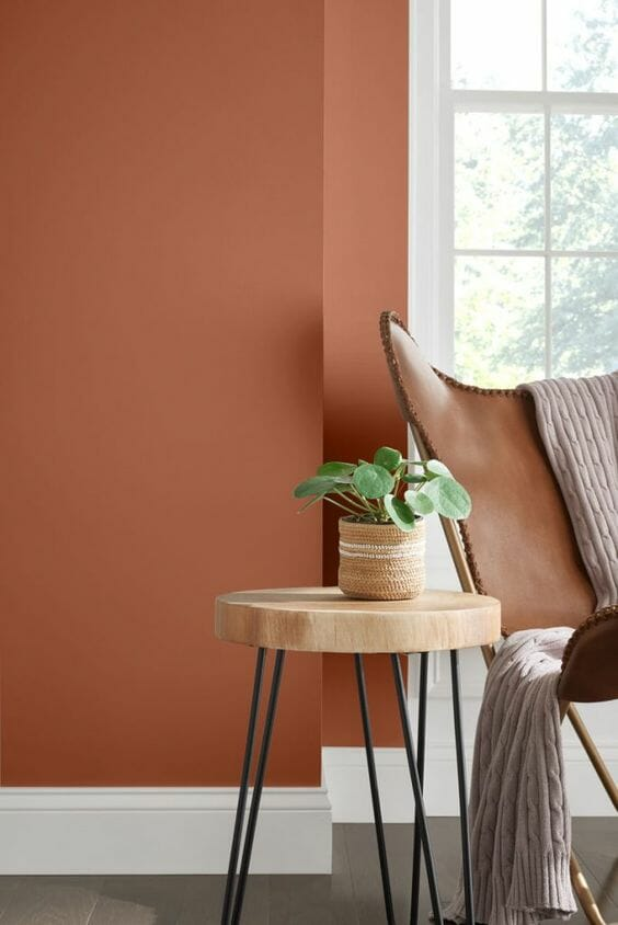 brązowy kolor ścian