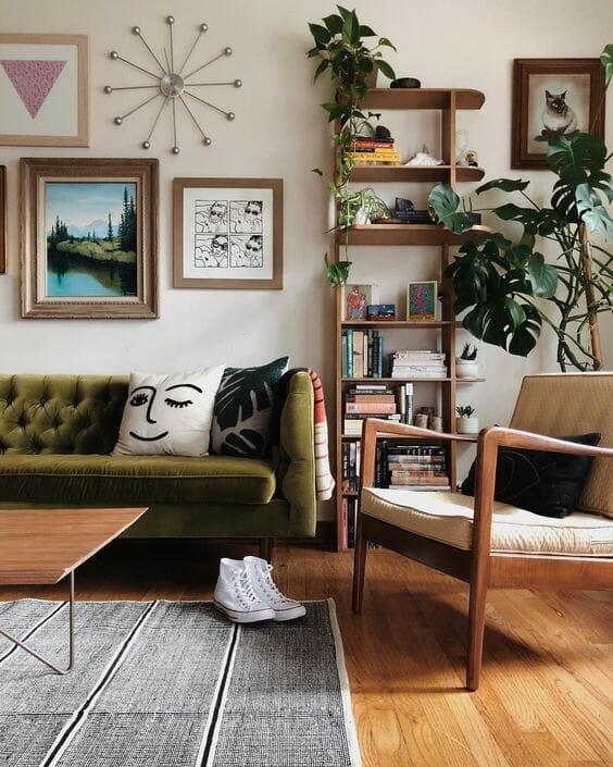 mały salon vintage, meble prl
