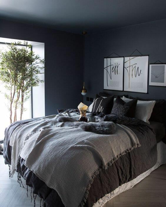 ciemnoszara sypialnia