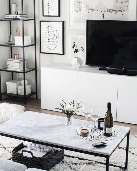 czarno-białe meble do małego pokoju