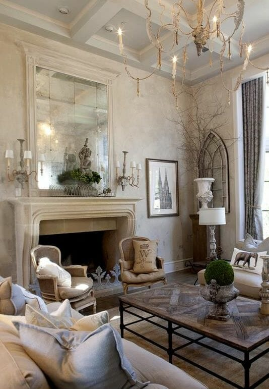 Salon w stylu prowansalskim i rustykalnym