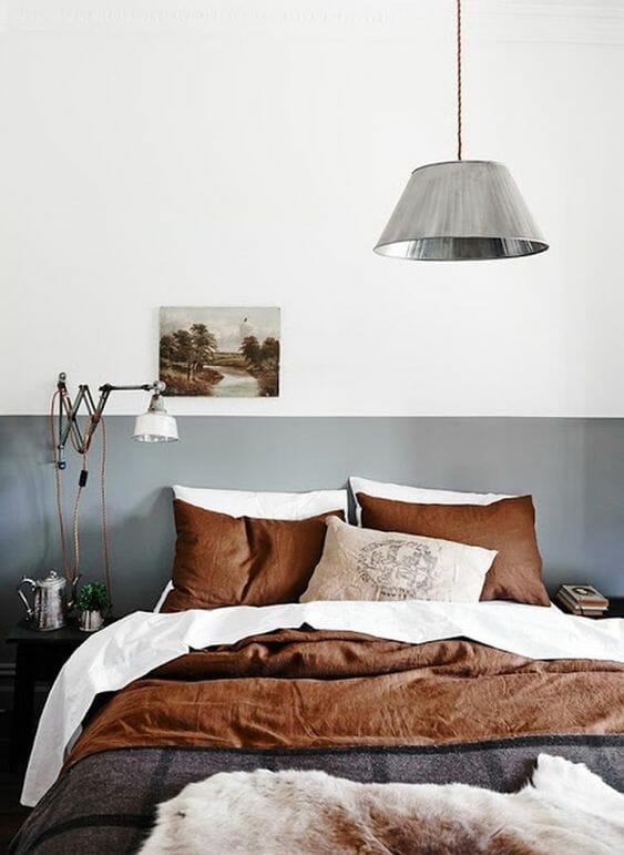 szaro biała sypialnia w stylu skandynawskim