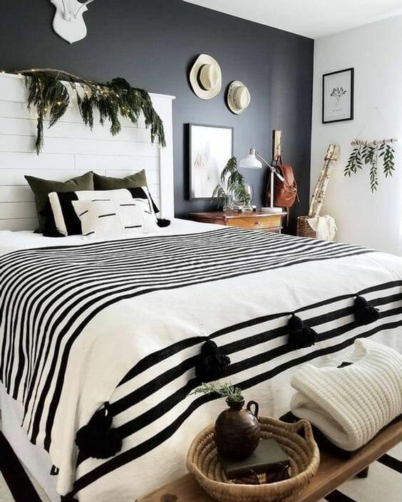 jak urządzić sypialnie w czerni i bieli - styl scandi boho